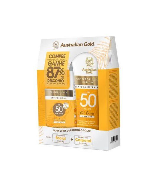 Oferta de Kit Protetor Solar Gel Creme Corporal FPS50 e Protetor Solar Facial FPS50 Australian Gold Australian Gold  por R$73,15
