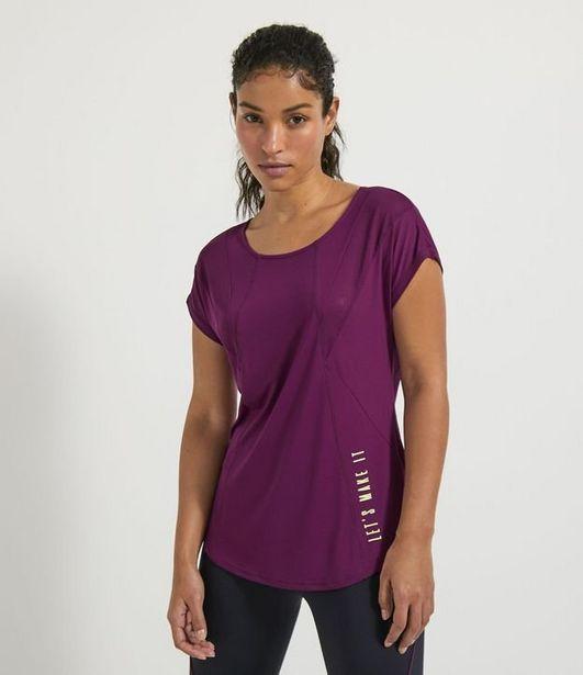 Oferta de Camiseta Esportiva Manga Curta Estampa Lateral Let's Make It com Recortes  por R$29,9