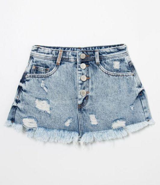 Oferta de Short Saia Jeans Puidos Short Saia Jeans Puidos com Botões na Vista TEENS  por R$39,9