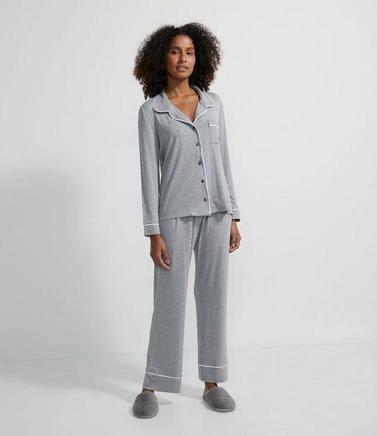 Oferta de Pijama Americano Longo em Viscolycra com Bolsinho e Bordado de Coração  por R$119,9