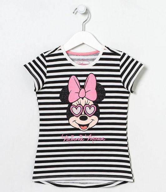 Oferta de Blusa Infantil Listrada Estampa Minnie - Tam 5 a 14 anos  por R$19,9