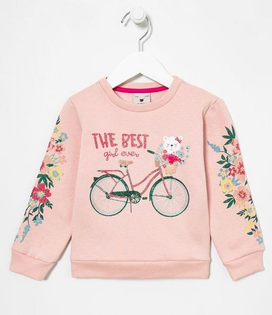Oferta de Blusão Infantil Estampa Ursinho Bicicleta - Tam 1 a 5 anos  por R$29,9