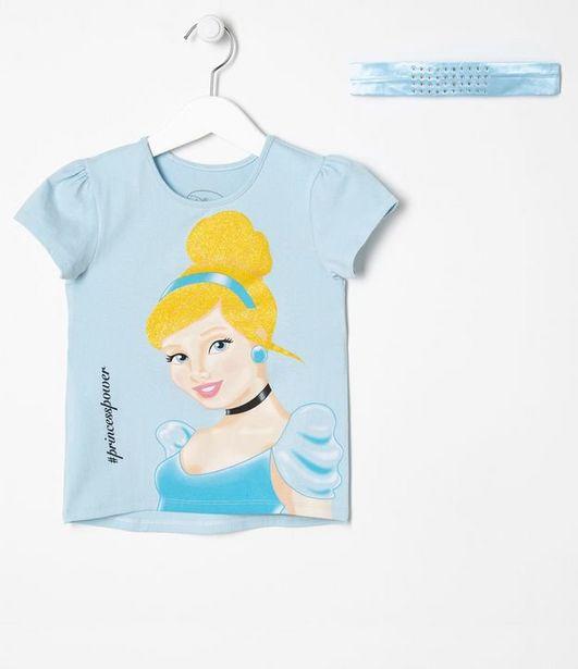 Oferta de Blusa Infantil Estampa Princesa Cinderela e Tiara - Tam 2 a 10 anos  por R$34,93
