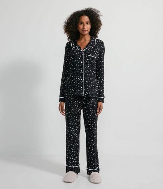 Oferta de Pijama Americano Longo em Viscolycra com Estampa de Estrelinhas  por R$119,9