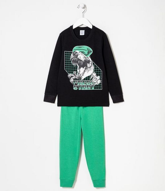 Oferta de Pijama Infantil Longo Toque Suave Estampa Dino Virtual - Tam 5 a 14 anos  por R$39,9