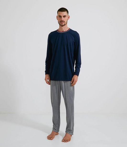 Oferta de Pijama Longo com Gola Ribana  por R$49,9