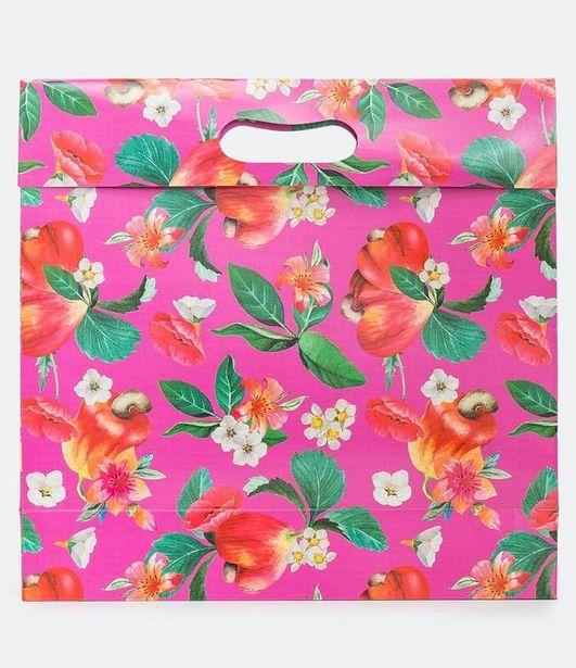 Oferta de Sacola para Presente com Estampa Floral  por R$7,12