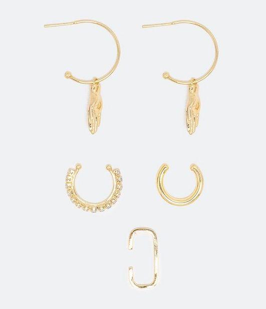 Oferta de Kit 5 Itens de Bijuteria Brincos e Piercings com Strass  por R$9,9