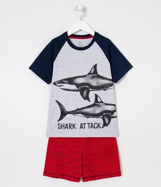 Oferta de Pijama Infantil Estampa Tubarão - Tam 5 a 14 anos  por R$19,9