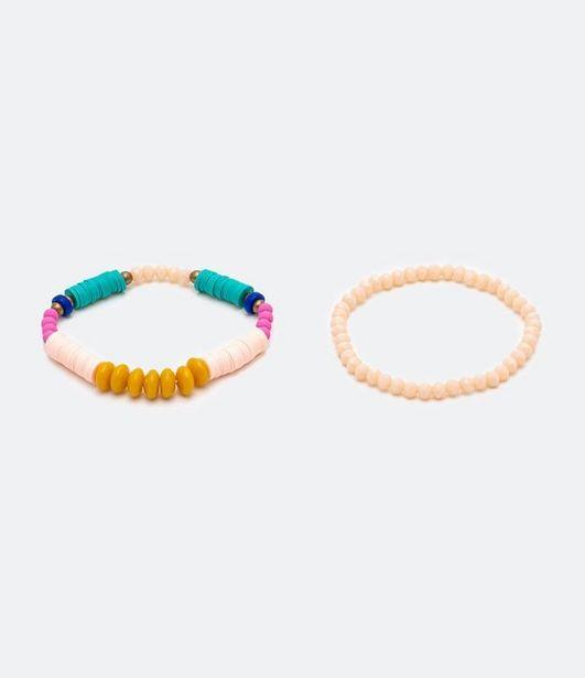 Oferta de Kit 2 Pulseiras de Contas Coloridas com Miçangas  por R$15,9