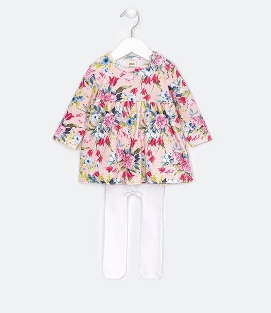 Oferta de Vestido Infantil Estampa Floral com Meia Calça - Tam 0 a 18 meses  por R$49,9