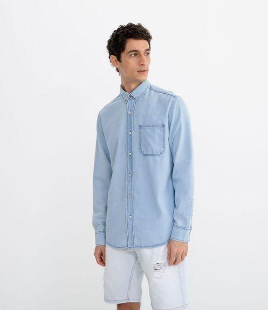 Oferta de Camisa Jeans Manga Longa com Bolso  por R$55,92