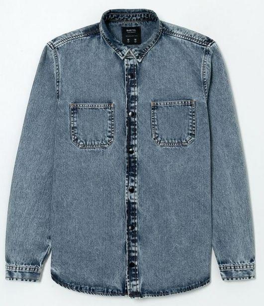 Oferta de Camisa Jeans com Bolsos Manga Longa  por R$55,92
