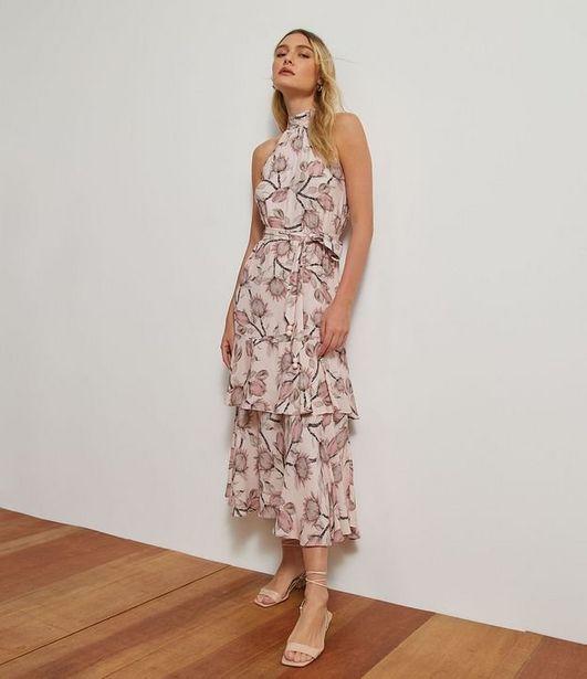 Oferta de Vestido Midi em Viscose Estampa Floral com Amarração e Babado  por R$59,9