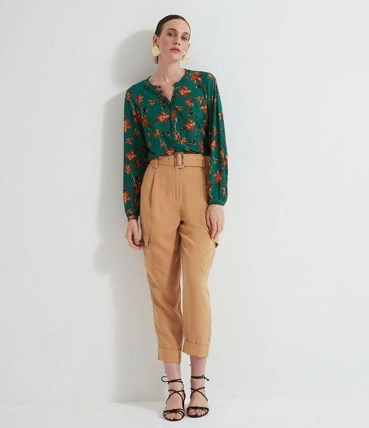 Oferta de Camisa Floral com Botões em Jersey  por R$19,9