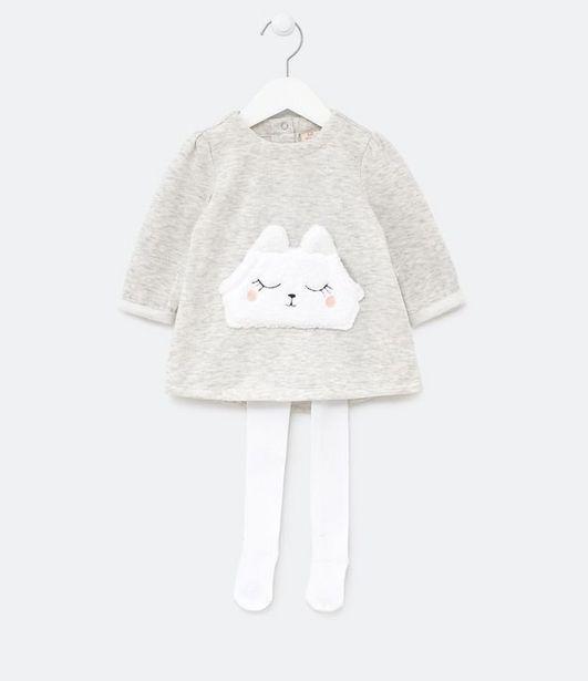 Oferta de Vestido Infantil Manga Longa com Bolso Canguru em Carinha e Meia Calça com Calcinha - Tam 0 a 18  por R$49,9