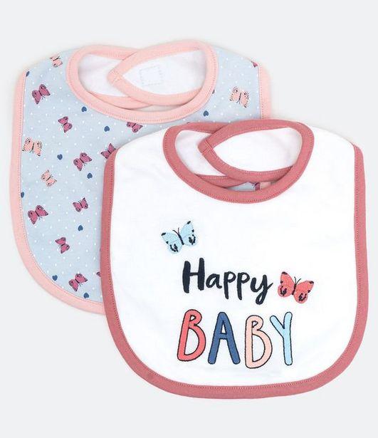 Oferta de Kit 2 Babadores Infantis Estampa Borboletas - Tam 0 a 12 meses  por R$28,73