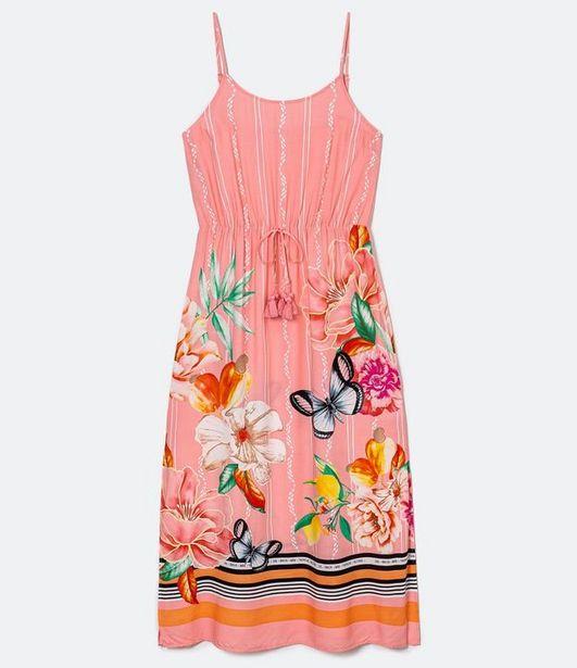 Oferta de Vestido Longo em Viscose Estampa Flores e Borboletas  por R$59,9
