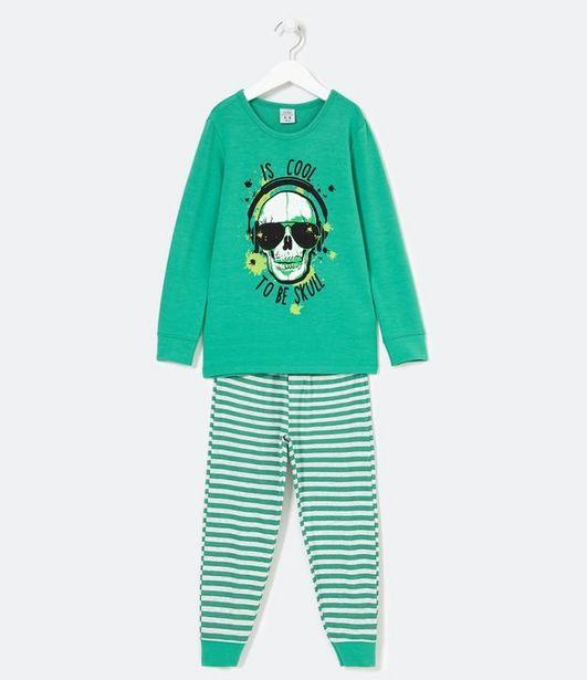 Oferta de Pijama Infantil Longo com Estampa de Caveira e Listras  por R$89,9