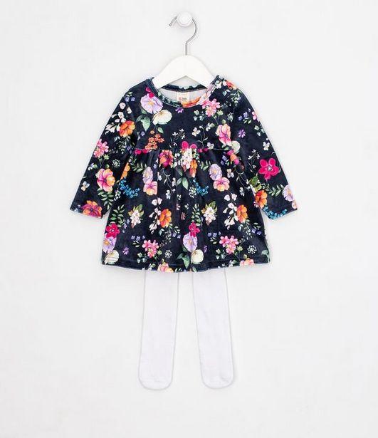 Oferta de Vestido Infantil Estampa Floral com Meia Calça - Tam 0 a 18 meses  por R$59,9