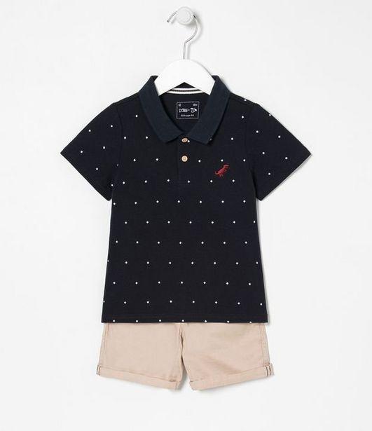 Oferta de Conjunto Infantil Bermuda e Camiseta Polo Losango - Tam 1 a 5 anos  por R$29,9