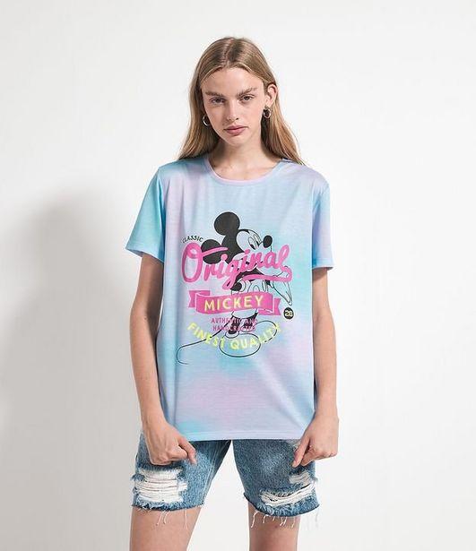 Oferta de Blusa Alongada Manga Curta em Algodão Tie Dye com Estampa Mickey Mouse  por R$19,9