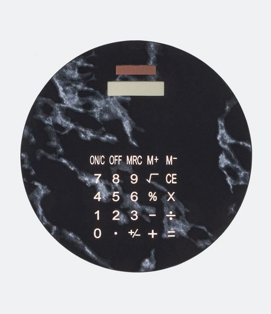 Oferta de Calculadora Redonda Estampa de Marmore  por R$19,9