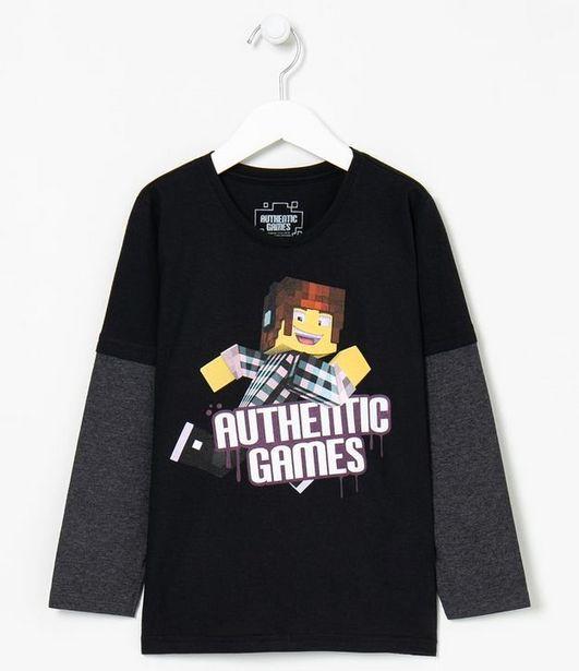 Oferta de Camiseta Infantil Estampa Authentic Games - Tam 5 a 14 anos  por R$29,9