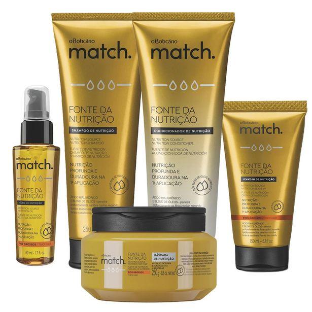 Oferta de Combo Match Fonte da Nutrição Fios Grossos: Shampoo + Condicionador + Máscara Capilar + Creme para Pentear + Óleo Capilar por R$177,74
