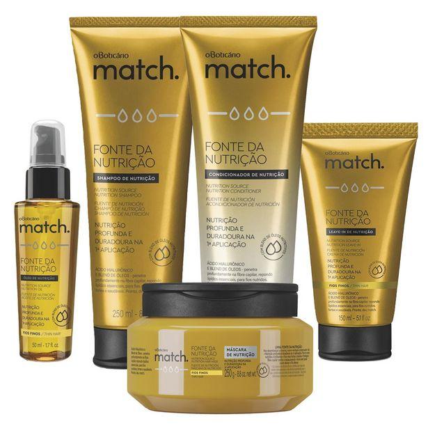 Oferta de Combo Match Fonte da Nutrição Fios Finos: Shampoo + Condicionador + Máscara Capilar + Creme para Pentear + Óleo Capilar por R$177,74