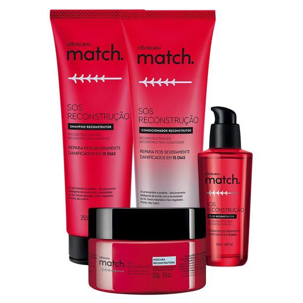 Oferta de Combo Match SOS Reconstrução: Shampoo + Condicionador + Máscara + Óleo Capilar por R$147,84