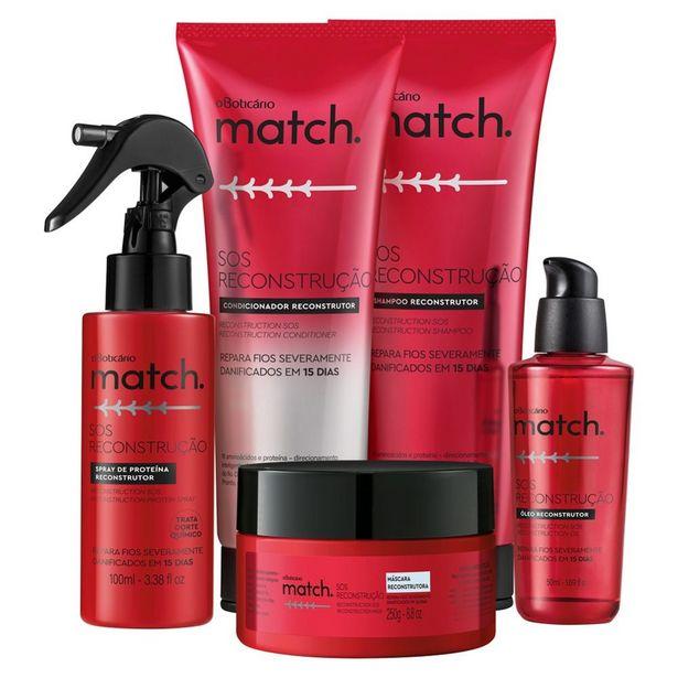 Oferta de Combo Match SOS Reconstrução: Shampoo + Condicionador + Máscara Capilar + Óleo Capilar + Spray de Proteína por R$187,74