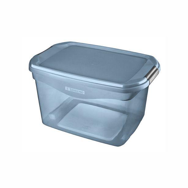 Oferta de Caixa Organizadora Sanremo Flex em Plástico Azul 29l por R$29,99