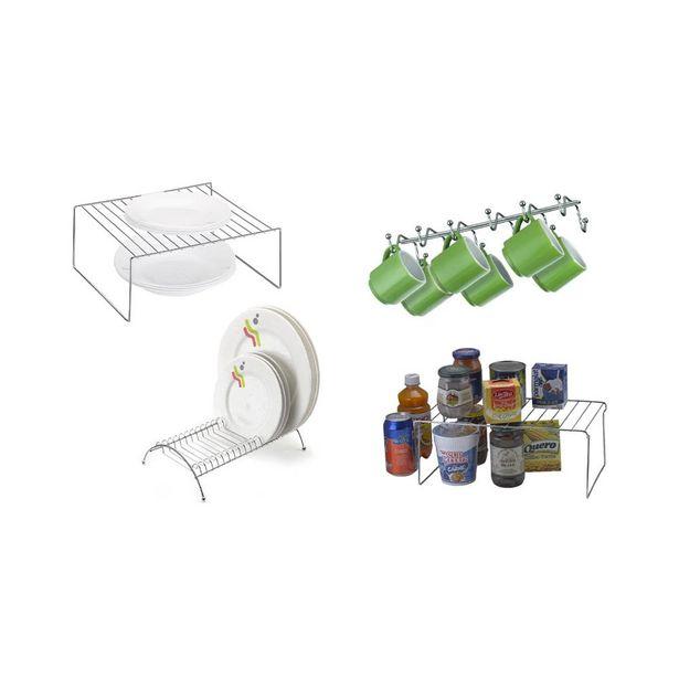 Oferta de Kit Organização de Cozinha Arthi com 4 Peças Aço Cromado Prata por R$119,99