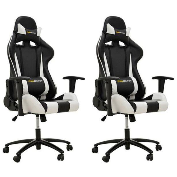 Oferta de Kit 02 Cadeiras Gamer Ergonômica Pro-v Sport Preto Branco por R$4249,9