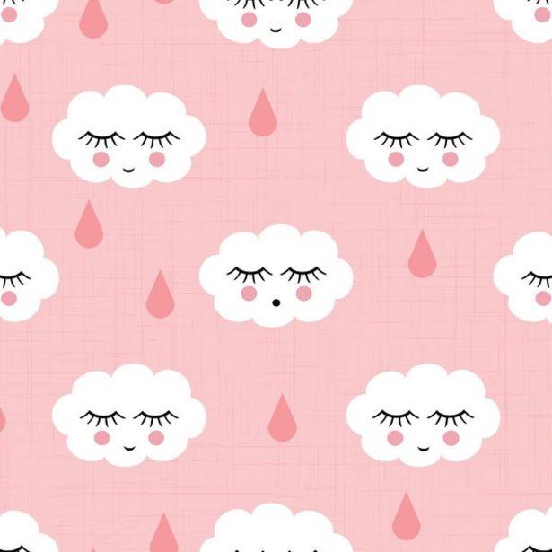 Oferta de Papel De Parede Infantil Nuvens Com Gotinhas Rosa 2,70x0,57m por R$59,9
