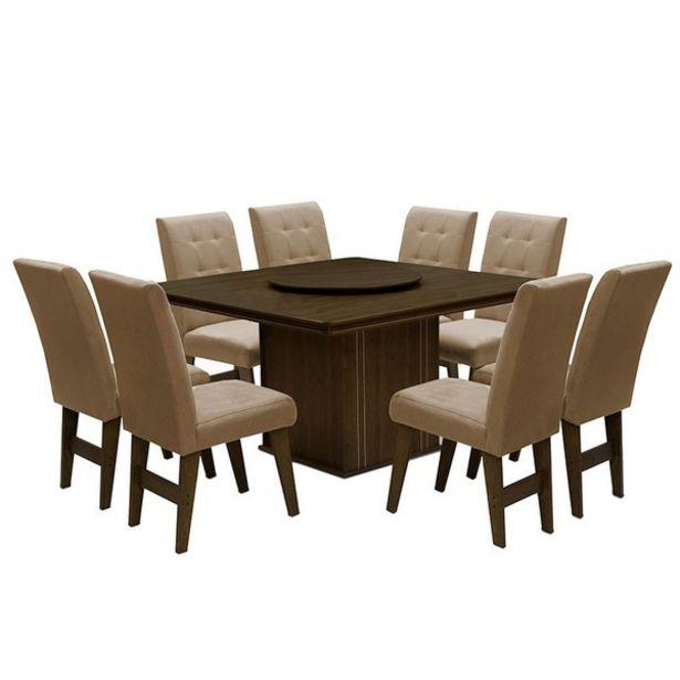 Oferta de Conjunto De Mesa Para Sala De Jantar Com 8 Cadeiras Esparta-dobue - Castanho / Mascavo por R$2611,9