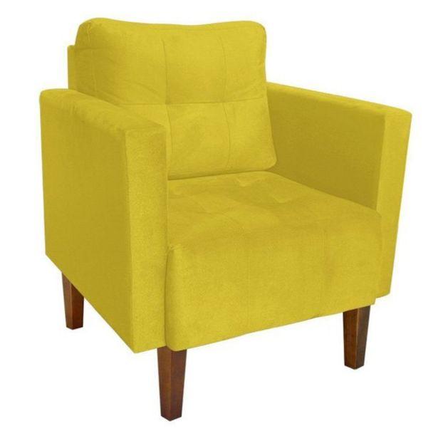 Oferta de Poltrona Decorativa Lívia Para Sala e Recepção Suede Amarelo - D'Rossi por R$549,9