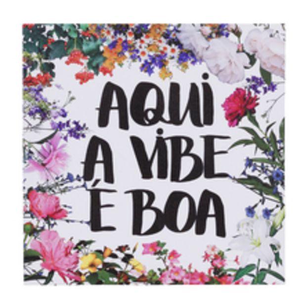 Oferta de Quadro Canvas Aqui Vibe Boa Flor Verde 40x40cm Inspire por R$29,9