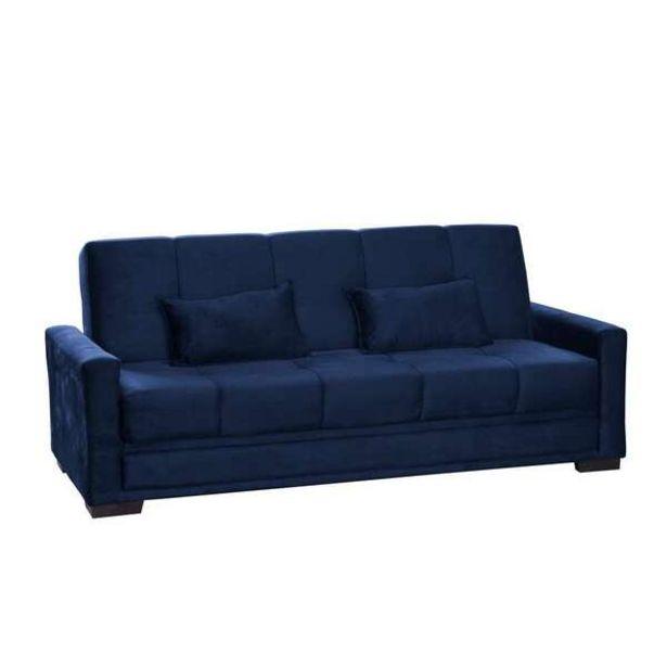 Oferta de Sofá-cama Casal 3 Lugares Grazi Veludo Azul por R$1178,99