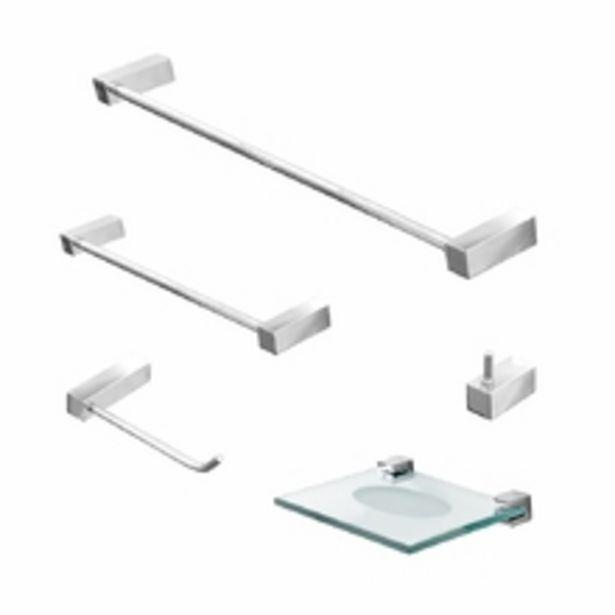 Oferta de Kit Para Banheiro Acessórios Metal 5 Peças Prátika 812pk Grego Metal por R$125,86