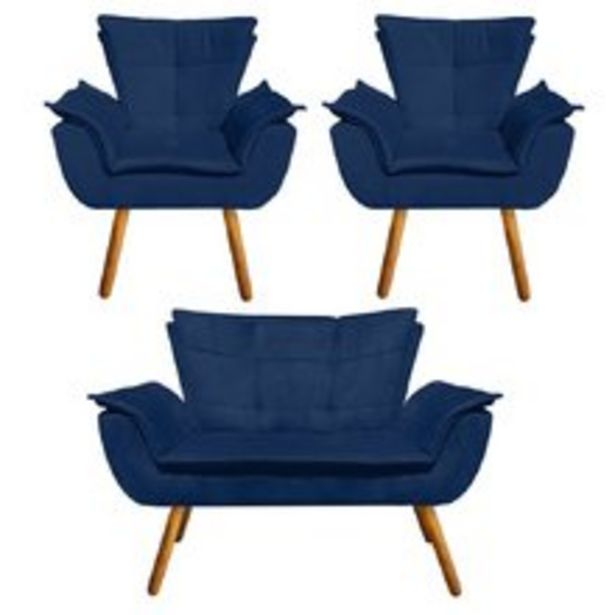 Oferta de Kit Sofá Retrô Namoradeira e 02 Poltronas Opala Suede Azul Marinho – D'Rossi por R$1729,9