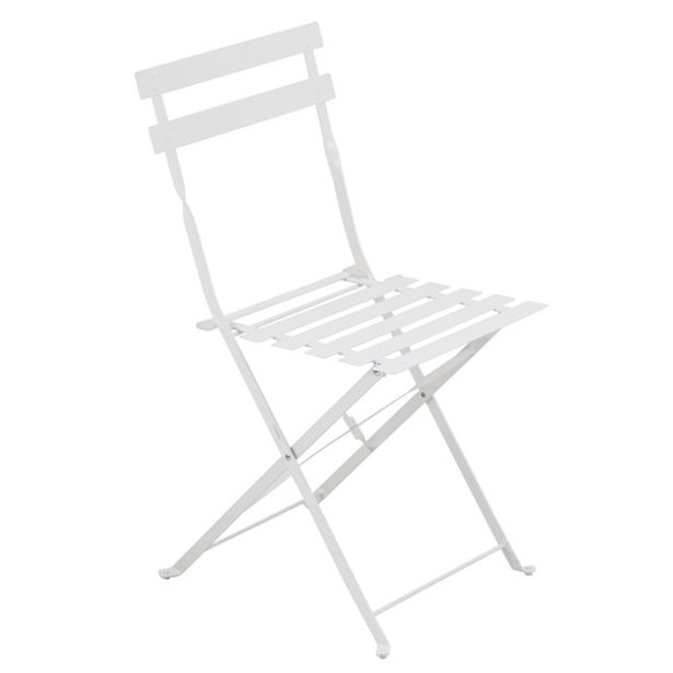 Oferta de Cadeira Dobrável Aço Flora Origami 80x41x47cm Branco Naterial por R$149,9