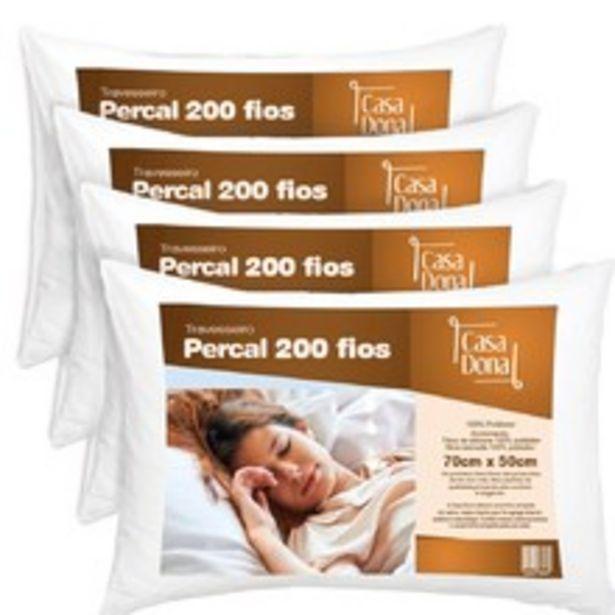 Oferta de Kit 04 Travesseiros De Fibra Siliconizada Percal Casa Dona 50x70cm Branco por R$79,9