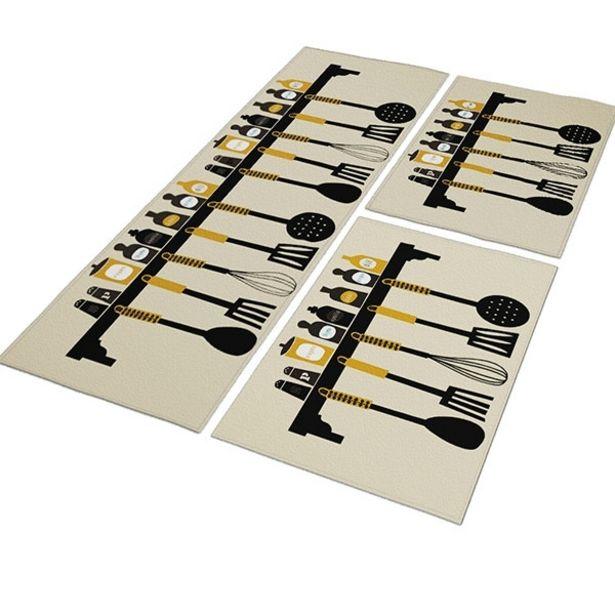 Oferta de Jogo Tapete De Cozinha Spice And Cutlery Passadeira 120x40 + 2 Capachos 40x60 Antiderrapante-bege por R$129,6