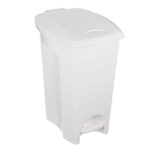 Oferta de Lixeira Externa com Pedal Plástico Branco 50L Plasútil por R$130,41