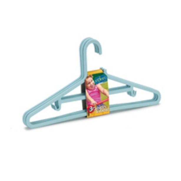 Oferta de Kit de Cabides Infantil 3 Unidades Azul Plástico Arthi por R$7,9