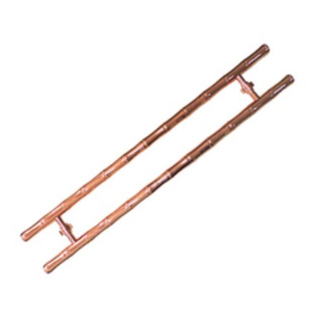 Oferta de Puxador para Porta de Madeira e Vidro Tubular Reto 136cm Alumínio Cobre Rose por R$999,9