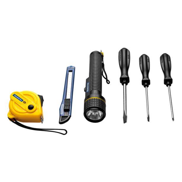 Oferta de Kit de Ferramentas 6 Peças com 1 Lanterna + 2 Chaves de Fenda + 1 Chave Phillips + 1 Estilete + 1 Trena 2m Tramontina por R$17,9