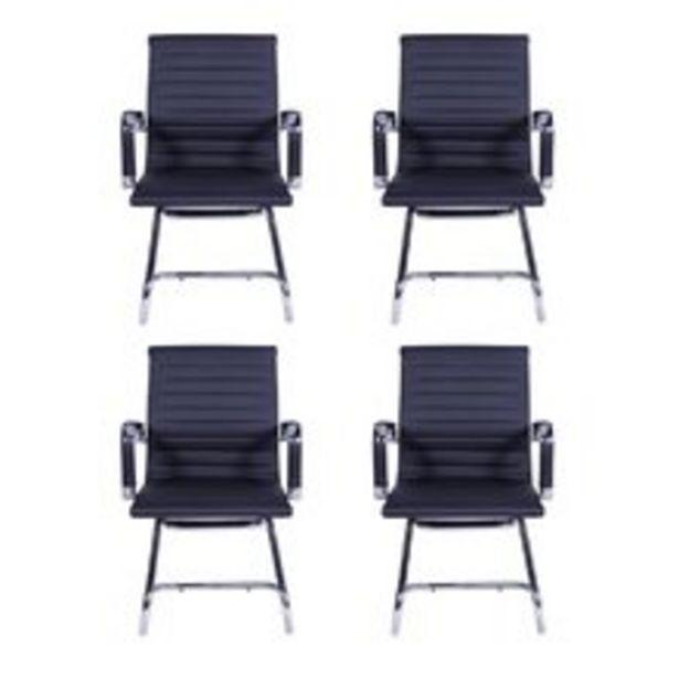 Oferta de Conjunto Com 4 Cadeiras de escritório Esteirinha Charles Eames Pu Fixa Preta por R$1836